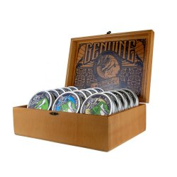 AKCE: Hey Joe! Pomade Box - sada pomád - 5x Pomade strong, 100 ml + 5x Pomade super strong, 100 ml + 5x Pomade matte, 100 ml + dřevěný box